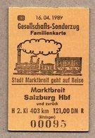 """BRD - Pappfahrkarte Eisenbahn Train - """" Gesellschafts-Sonderzug"""" Familienkarte -- Markbreit - Salzburg 1989 - Trenes"""