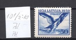 LETTLAND Latvia 1939 Michel 275 Inverted Vertical Watermark Perf 10 1/2:10 * - Lettland