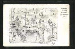 Künstler-AK Championnat Sur Billard Hénin Ainé Aux Inondations 1910, Taucher Spielen Billard - Fishing