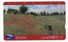 JAPON TELECARTE PEINTURE CLAUDE MONET LES COQUELICOTS - Schilderijen