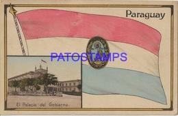 134167 PARAGUAY FLAG BANDERA & PALACIO DEL GOBIERNO POSTAL POSTCARD - Paraguay