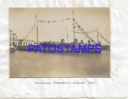 134172 PARAGUAY ASUNCION BARCO SHIP H.M.S PETERSFIELDYEAR 1920 8.5 X 5.5 CM PHOTO NO POSTAL POSTCARD - Paraguay