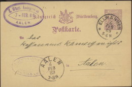 1889 ELLWANGEN 5 Pfg GSKte N. Aalen - Stamped Stationery