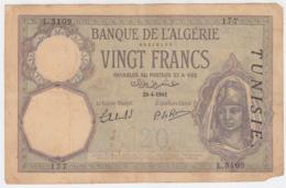 TUNISIA 20 FRANCS 1941 VG PICK 6b - Tunisia