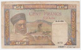 Algeria 100 Francs 1941 VG Banknote Pick 85 - Algerije