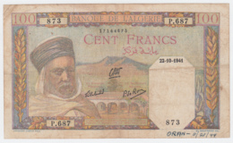 Algeria 100 Francs 1941 VG Banknote Pick 85 - Algeria