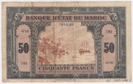 MOROCCO 50 FRANCS 1-8- 1943 F+ Pick 26 - Marokko