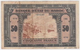 MOROCCO 50 FRANCS 1-8- 1943 F+ Pick 26 - Marocco