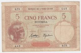 New Caledonia Noumea 5 Francs 1926 F+ Pick 36b 36 B - Nouméa (Nuova Caledonia 1873-1985)