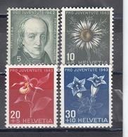 Switzerland 1943 - Pro Juventute:Flowers, Mi-Nr. 424/27, MNH** - Neufs