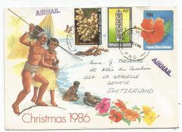 PAPUA NEW GUINEA ENTIER ENVELOPPE COVER 15T REPIQUAGE CHRISMAS +5T+50T PORT MORESBY 3 DE 1986 PNG POUR SUISSE - Papua-Neuguinea