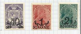 Liechtenstein N°14 à 16 Neufs Avec Charnière* Cote 9 Euros - Liechtenstein