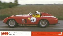 1000 MIGLIA  CARTONCIN  PUBBLICITARIO  FERRARI  500 MONDIAL   1955 SUL  RETRO  CLASSIFICHE - Automobile - F1