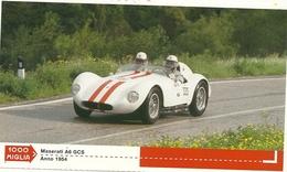 1000 MIGLIA  CARTONCIN  PUBBLICITARIO    MASERTI A6  GCS  1954   SUL  RETRO  CLASSIFICHE - Automobilismo - F1