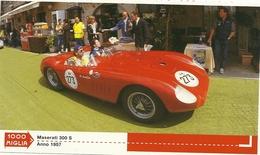 1000 MIGLIA  CARTONCIN  PUBBLICITARIO    MASERTI    300 S 1957  SUL  RETRO  CLASSIFICHE - Automobilismo - F1