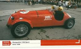 1000 MIGLIA  CARTONCIN  PUBBLICITARIO    STANGUELLINI 1100 SORT  1938   SUL  RETRO  CLASSIFICHE - Automobilismo - F1