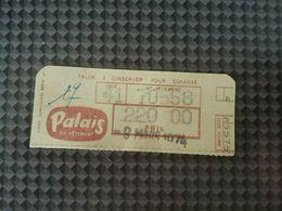 Ticket Palais Du Vetement Datant De 1974 Retro Vintage Rare Facture - Tickets - Entradas