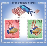 GUINEA BISSAU - 2010 - Tropical Fish And Corals - Perf Souv Sheet - Mint Never Hinged - Guinea-Bissau
