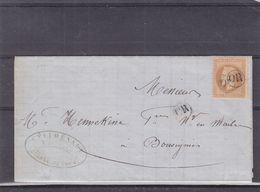 France - Lettre De 1869 - Oblitération OR - Rare - Lettre Envoyé Depuis Cousolre - Exp Vers Bousignies - Valeur 250 € - 1863-1870 Napoleone III Con Gli Allori