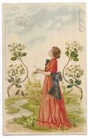 Raphael Tuck Femme Art Nouveau Fleurs Série 76.  3 Un Mot à La Poste - Tuck, Raphael