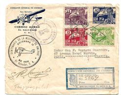 Sal002/EL SALVADOR - 100.Todestag 17.12.1930 Kompl. A. Brief Nach Paris. Einschreiben M. Sonderflug, Ersttagbefördert - Salvador