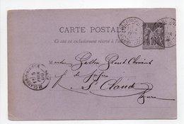 - Carte Postale FABRIQUE DE PIPES CHOLET, CLERMONT-FERRAND Pour SAINT-CLAUDE 3 FEVR 1888 - 10 C. Noir Type Sage - - Cartes Postales Types Et TSC (avant 1995)