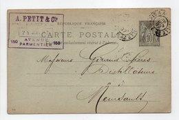 - Carte Postale PARIS Pour MEURSAULT (Côte-d'Or) 28 JUIN 1897 - A ETUDIER - - Cartes Postales Types Et TSC (avant 1995)