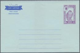 Dubai: 1963/71, Ca. 30 Unused And CTO-used Postal Stationery Airmail Lettersheets, Incl. Revaluation - Dubai