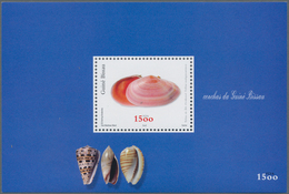 Guinea-Bissau: 2002, SHELLS, Complete Set Of Four In Miniature Sheets With 20 Stamps Each, In An Inv - Guinée-Bissau