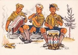 Pfadfinder Beim Musizieren - Sign.Mutti - Schweiz.Pfadfinderbund          (A-222-200524) - Scoutismo