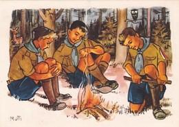 Pfadfinder Am Lagerfeuer - Sign.Mutti - Schweiz.Pfadfinderbund          (A-222-200524) - Scoutismo