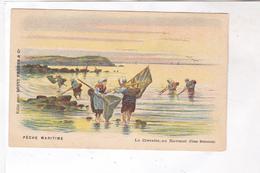 CPA ILLUSTREE  PECHE MARITIME , LA CREVETTE AU HAVENET (cotes Bretonnes) - Fishing