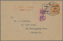 "Japanische Besetzung  WK II - Malaya: 1942, Stationery, Cards 2 C. Orange Perak Resp. NS Ovpt. ""DAI - Malaysia (1964-...)"