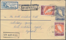 Malaysia: 1950's-60's: Group Of 27 Postal Stationery Registered Envelopes 30c. Blue Used From 18 Dif - Malaysia (1964-...)