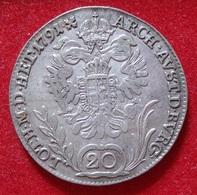 AUSTRIA 20 KREUZER 1791 B. LEOPOLD II. SILVER, ARGENT. AUTRICHE. - Austria