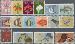 Südafrika: 1974, Definitive Issue 'flowers, Birds And Fishes' Complete Set Of 16 In A Lot With 180 S - Afrique Du Sud (1961-...)