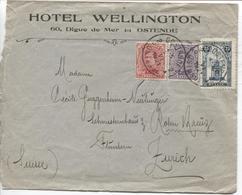 REF1273/ TP 138-139-164 S/L. HOTEL WELLINGTON Ostende C Oostende 1921 > Zurich Suisse - Belgique