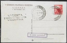 """ANNULLO SPECIALE  """"VICENZA*Ia GIORNATA FILATELICA VICENTINA*  7.9.1947 - SU CARTOLINA FORMATO PICCOLO - ANNULLO LINEARE - Tag Der Briefmarke"""