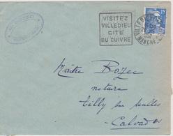 Daguin Flamme à Gauche Villedieu Les Poeles Manche 26/05/1952 - Mechanical Postmarks (Advertisement)