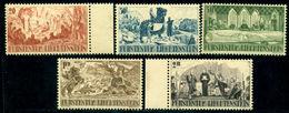 Liechtenstein 1942 St Lucius,Quill,Knight,Gutemberg Battle,Castle,Mi.202-6,MNH - Militaria