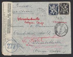 Guerre 40-45 - N°687 Et 689 Sur Lettre Par Avion De Etterbeek (1945) > Elisabethville (Congo) Via Afrique Du Sud. Double - Weltkrieg 1939-45