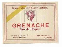 Etiquette DURBAN AUDE Grands Vins Des Hautes Corbieres -  Eugene Mailhac - Clos De L'espaze Grenache - Languedoc-Roussillon