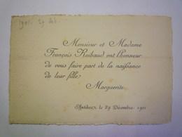 2020 - 5768  FAIRE-PART De NAISSANCE De Marguerite REIBAUD  29 Décembre 1901  Antibes   XXX - Birth & Baptism