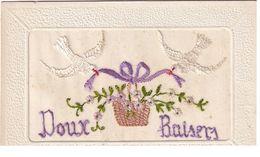 Carte Brodée Doux Baisers - Bestickt