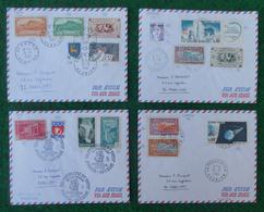 """Quatre Enveloppes """"Poste Aérienne"""" - Années 1960 - Pièces Marcophiles Expédiées De La Réunion Vers La Métropole - Marcophilie (Lettres)"""