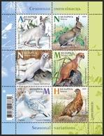 TH Belarus 2020 Fauna Seasonal Variations Hare Weasel Partridge Bird Birds Mammals Bl. S/S MNH - Otros
