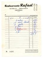 Facture Restaurant Restaurante Rafael Fuenterrabia 1972 - France