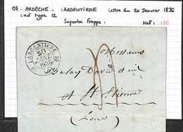 07 -  ARDECHE - LARGENTIERE - Lettre Du 20/01/1836 - Cad Type 12 - Taxe Manuscrite - Superbe Frappe - 1801-1848: Précurseurs XIX