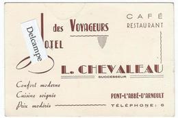 PONT-L'ABBE-D'ARNOULT (17) - Hôtel Des Voyageurs (L. Chevaleau Succ.) - Carte Commerciale (note Au Verso)-12 X 8 - Autres Communes
