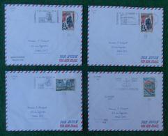 """Quatre Enveloppes """"Poste Aérienne"""" - Année 1965 - Pièces Marcophiles Expédiées De La Réunion Vers La Métropole - Marcophilie (Lettres)"""